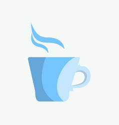 blue mug of tea or coffee in the morning vector image