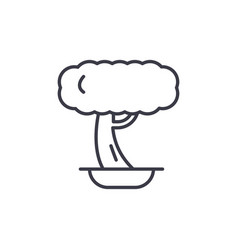 bonsai line icon concept bonsai flat sign vector image