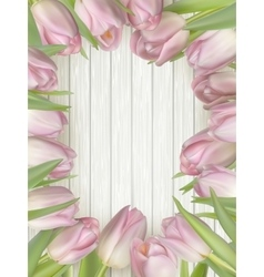 Bouquet of tulips on a wooden background EPS 10 vector image vector image