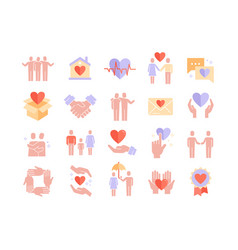 care icon set with hearts showing friendship vector image