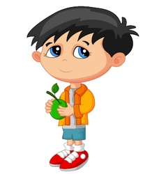 Cartoon boy holding green fruit vector
