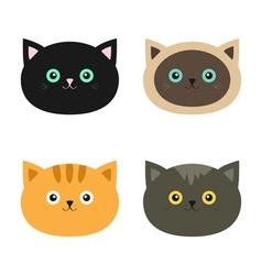 Cat head set Siamese red black orange gray color vector