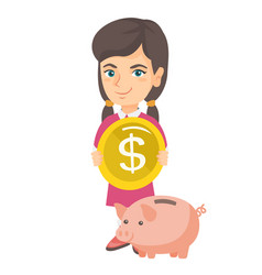 caucasian girl putting a coin into a piggy bank vector image