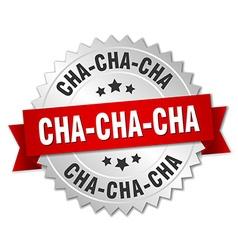 Cha-cha-cha 3d silver badge with red ribbon vector