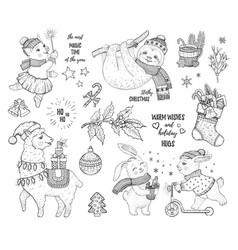 christmas cute animals lama sloth rabbit pig hand vector image