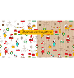 christmas seamless patterns with cartoon santa vector image