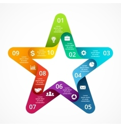 circle arrows color star symbol infographic vector image