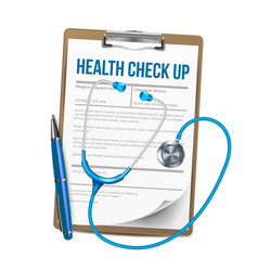 Clipboard with list of health check up vector