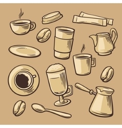 Coffee Pattern hand drawn vintage vector
