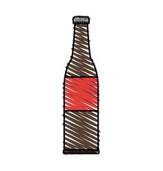 color crayon stripe cartoon bottle glass of beer vector image