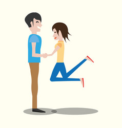 Couple lovely holding hands vector