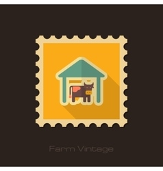 Cowshed retro flat stamp with long shadow vector