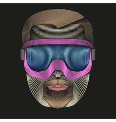Creative Retro Artwork of symbol skier or vector image