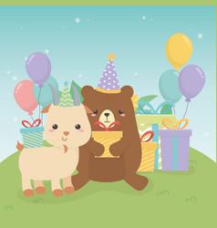 Cute bear teddy and goat in birthday party scene vector