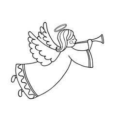 Cute flying angel with flute vector