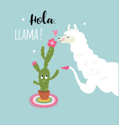 cute llama with cactus flower vector image