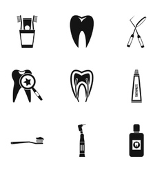 Dentistry icons set simple style vector