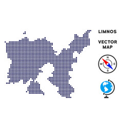 Dotted limnos greek island map vector