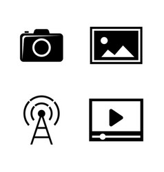 Dslr camera simple related icons vector