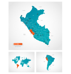 Editable template map peru with marks peru vector