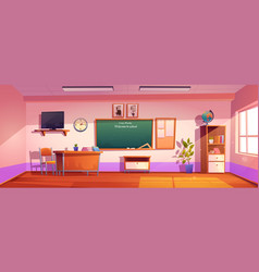 empty classroom with inscription welcome to school vector image