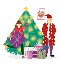 father and girl decorating tree gifts merry vector image