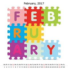 February 2017 puzzle calendar vector