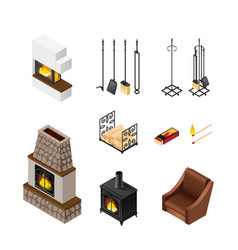 fireplace isometric elements set vector image