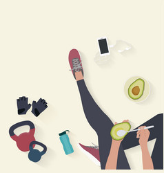 Fitness equipment flat background woman sitting vector