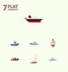 Flat icon vessel set of sailboat tanker cargo vector