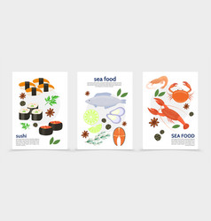 Flat sea food posters vector