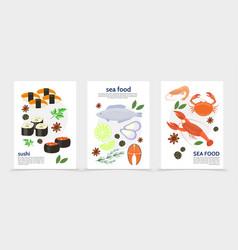 flat sea food posters vector image