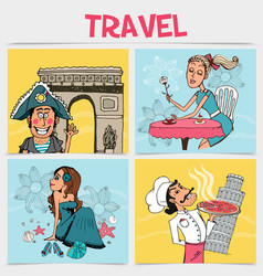 Flat travel square concept vector