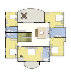 floorplan architecture plan house 1st floor upper vector image