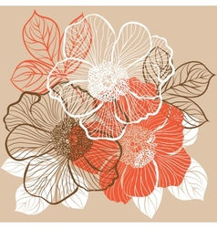 floral background with flowers peony vector image