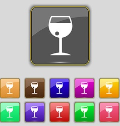 Glass of wine icon sign Set with eleven colored vector