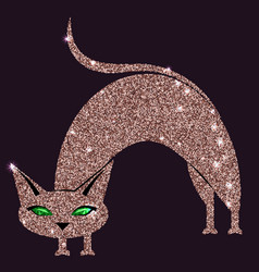 gold rose cat with green eyes vector image