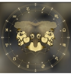 Golden twins portrait zodiac Gemini sign vector