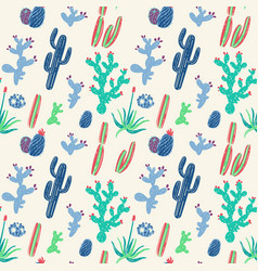 Hand drawn cacti seamless pattern vector