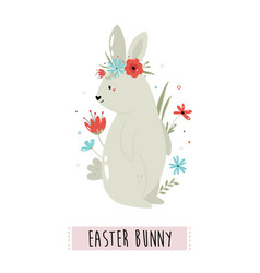 happy easter with cute rabbit vector image