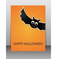 Happy halloween greeting card with flying bat vector