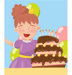 Happy young woman holding birthday cake photo vector