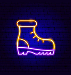 hiking boot neon sign vector image