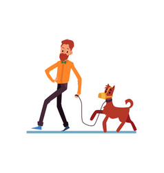 hipster bearded man and his dog walking flat vector image