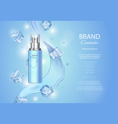 Ice toner ads with cubes blue spray bottle vector