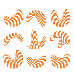 Isolated abstract orange and white logo set of vector