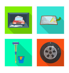 Isolated object carwash and care logo set of vector