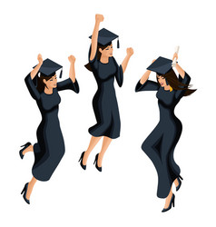 isometry of a graduate girl jumping is happy vector image