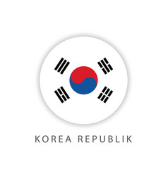 Korea republic circle flag template design vector