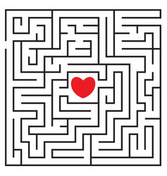 labyrinth with red heart vector image